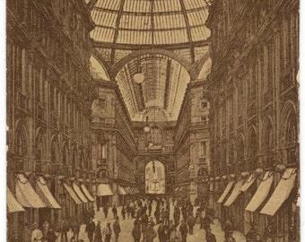Milan Italy Galleria Vitt. Emanuele Vintage Postcard