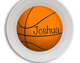 BOWL Basketball Dish, Kids Dinnerware, Childrens Tableware, Athletic Name Sports Platter, Coach Gift, Baby Melamine Bowl, Basket Ball Plate