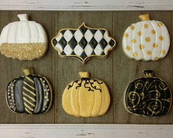 Black, White and Gold Pumpkins - Fancy Fall and Halloween cookies