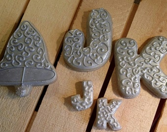 Silver Monogram Letters and Wedding Bell (Includes 12 Large Cookies or 9 Large and 9 Small Cookies)