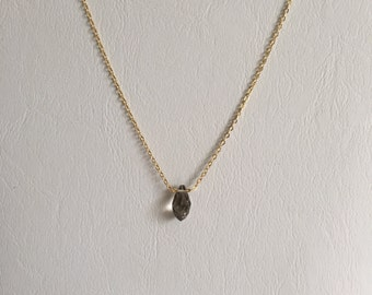 Gold Chain Necklace with Charcoal Grey Swarovski Pendant