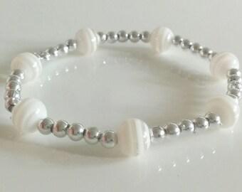 Silver White Angel Glass bracelet
