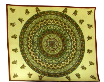 Indian Hand Block Printed Mandala Design Cotton Double Bed sheet size 90x108""