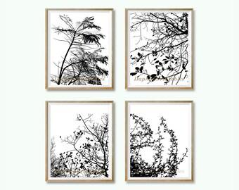 Tree wall art decor Black and white download Black modern wall art Black digital art Black tree art print Black nature art Black bedroom