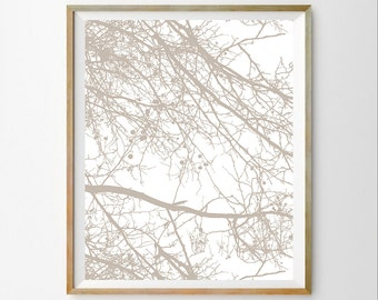White tree art print White wall art decor White wall art print Modern tree print 8X10 White art download Neutral décor White modern print