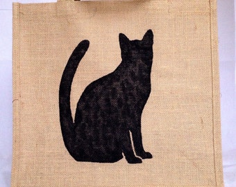 Large cat jute bag, hand painted burlap gift bag, hessian tote bag, shopping carrier bag - black