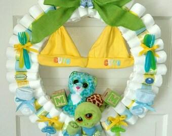 Diaper Wreath, baby diaper wreath, diaper wreath for twins, boy diaper wreath