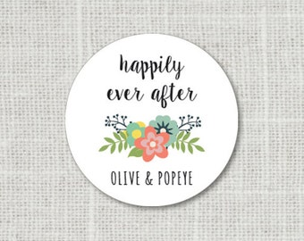 Happily Ever After Floral Wedding Stickers, Wedding Favor Sticker, Flower Wedding Labels, Name Wedding Stickers