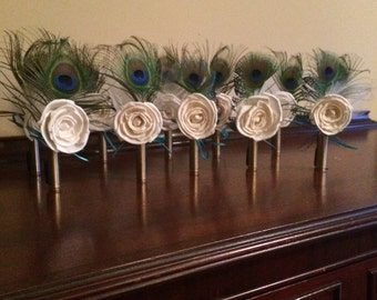 Boutonneires Shell Casing Feather Barn Wedding Rustic Wedding