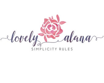 PREMADE LOGO DESIGN - Watercolor logo design - floral logo design - header graphics design for blogs