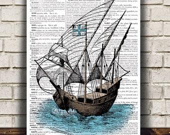 Nautical print Ship art Victorian poster Dictionary print RTA1149