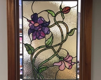 Art Nouveau Stained Glass Flower Panel
