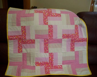 Pink flannel baby quilt
