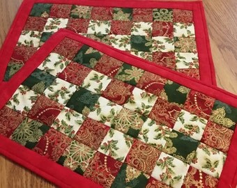 Red Quilted Christmas placemats