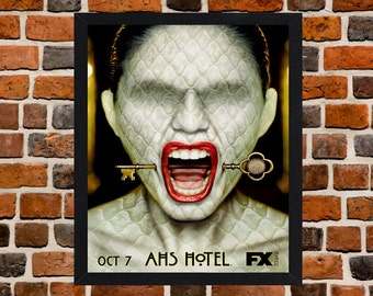 Framed American Horror Story Hotel TV Series Poster A3 Size Mounted In Black Or White Frame
