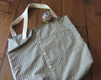 Upcycled Shirt Tote Bag-Moss Green Plaid