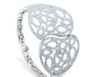 925 Sterling Silver Hinged Bangle Bracelet – 6.54 CT.TW (S208)