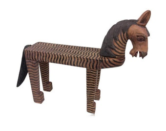 Hand Carved And Painted Horse Table