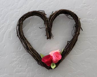 Heart Shaped Grapevine Wreath with Cluster of Three Felt Rosettes