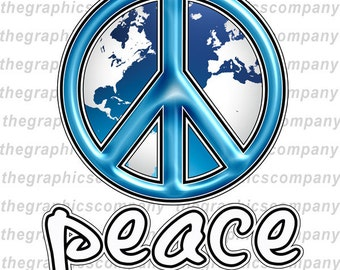 "Blue World Peace Sign 8"" Decals Stickers Graphics"