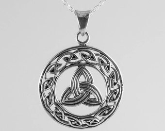 Celtic Trinity Necklace~Silver Trinity Pendant~Celtic Knot Necklace~Silver Trinity Knot~Mens Celtic Jewelry~Womens Celtic Necklace