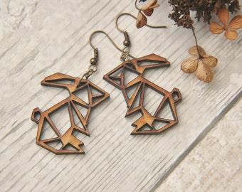 Wooden Origami Rabbit Earrings