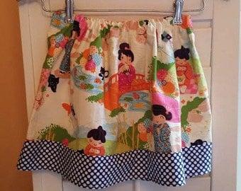 Girl's Skirt, Japanese Print with Blue & White Polka Dots