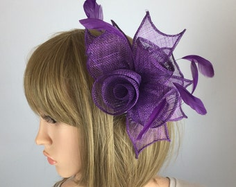 Purple fascinator rose comb fascinator flower - Wedding, Mother of the Bride, Ascot, Ladies Day, BBQ, party, Races