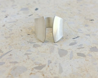 Open band ring , Minimalist ring , Wide band ring , Adjustable ring , Unique rings , Sterling silver ring , Women , Gift For Her