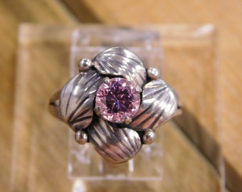 Pretty Flower Pink CZ Sterling Silver Ring