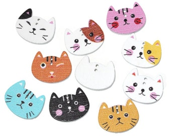 10Pcs Wood Sewing Button Scrapbooking Cat At Random 2 Holes - 20
