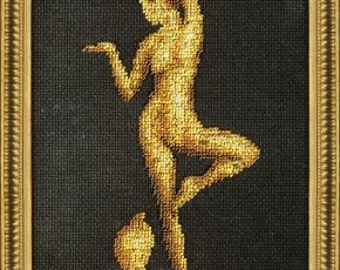 Bead embroidery kit Girl with a cobra
