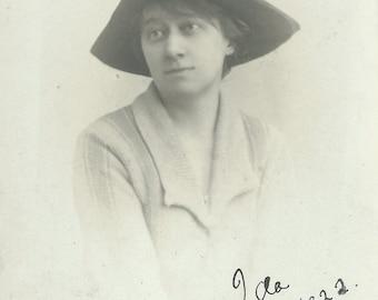 "Vintage Real Photo Post Card ""Ida, 1922"", Original Black and White RPPC Postcard, Old Photograph, Antique Photo, Paper Ephemera F"