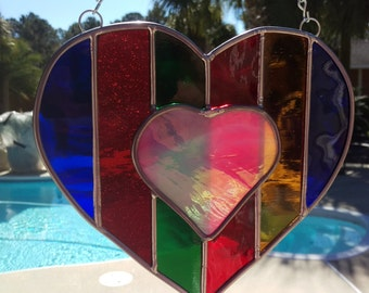 Rainbow Stained Glass Heart Valentine Suncatcher, Pride gift