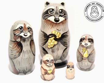 Raccoon Happy Family Nesting dolls 5pcs 11 cm, Kids Gift, Matryoshka Doll, Animal Toys, Mothers Day Gift, Gift for Her, Kids Room Decor