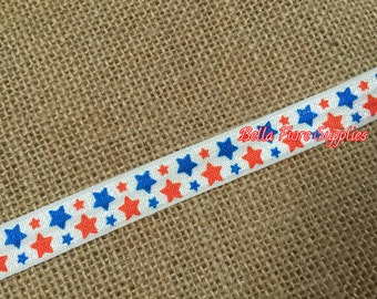 Red Blue Stars Fold Over Elastic- Stars FOE- 4th of July FOE- Fold Over Elastic- Wholesale Elastic- DIY Headband-   By The Yard