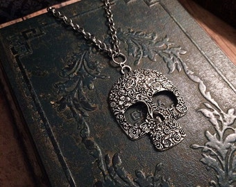 SALE! Silver sugar skull necklace // gothic necklace // ornate skull necklace // skeleton necklace // skull jewelry // statement necklace