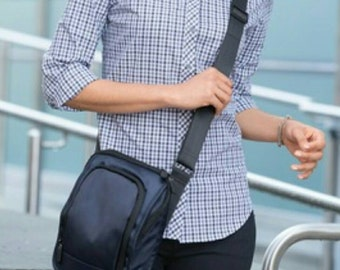 Customized  Messenger  crossbody Bag Kindle or Tablet case choose any Monogram or Logo roomy  Blue or Black