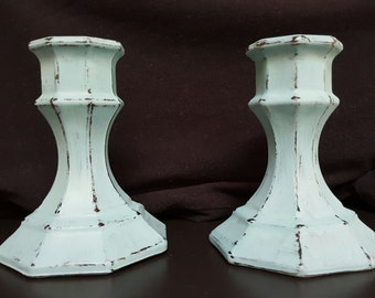 2-Piece Set Blue Chalk Painted Glass Candlestick Holder- Small
