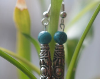 Blue turquoise beads, and ethnic beads earrings