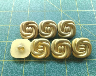 Gold Knot Buttons with Shank, 1 inch, large, set of 7