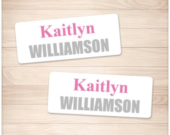 """Printable Name Labels PINK for School Supplies - Personalized 2 5/8"""" x 1"""" Labels - Back to School - Editable PDF - Instant Download"""