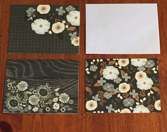 Set of 6 flower cards; blank inside cards; thinking of you cards; cards with flowers; craft supply