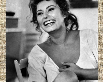 Sophia Loren photograph, vintage photo print, classic old Hollywood photograph, black and white print, boho wall decor