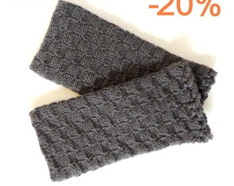 20% Christmas in July! Grey Fingerless Gloves - Traditional Lithuanian Hand Knitted Fingerless Gloves - Arm warmer knitted