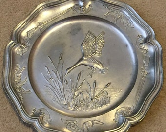 Vintage Pewter Plaque/Plate, Made in France