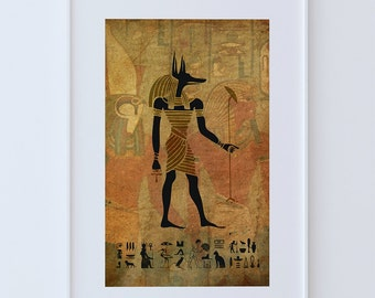 Egyptian Anubis  Print Vintage Ancient Egypt Decor Ocean Wall Art - Giclee Print on Cotton Canvas and Paper Canvas