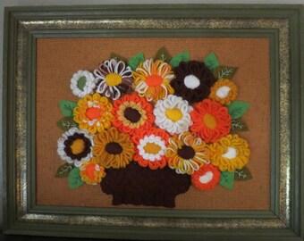Framed Vintage Crewel Bouquet on Burlap