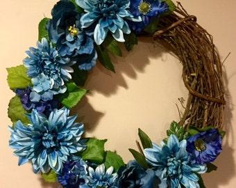 Blue Flower Grapevine Wreath