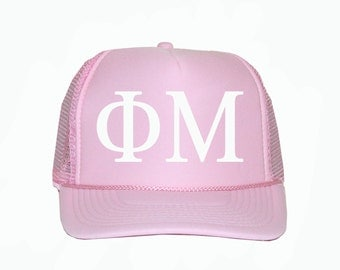 Phi Mu Trucker Hat, phimu Trucker Hat, Greek Letter Glitter Trucker Hat, Phi Mu Sorority, Greek Sorority Trucker hat, Phimu sorority apparel